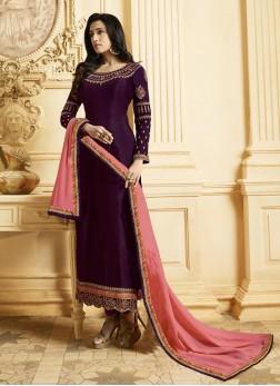 Superb Purple Resham Georgette Satin Designer Pakistani Suit
