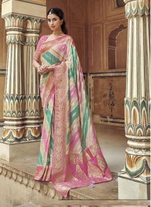 Superb Salmon Pink & Aquamarine Designer Pure Dola Silk Saree