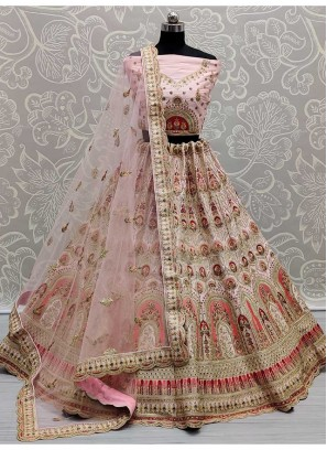 Superbly Dori Work On Silk Wedding Lehenga Choli In Pink