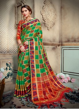 Superlative Multi Colour Abstract Print Art Silk Traditional Saree