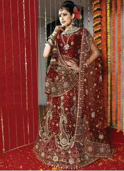 Surpassing Fancy Maroon Net Handwork Lehenga Choli