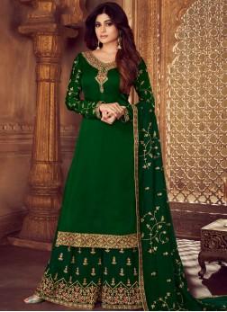 Surpassing Green Mehndi Designer Palazzo Salwar Kameez