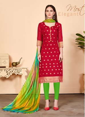 Swanky Abstract Print Red Churidar Salwar Suit
