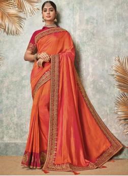 Swanky Fancy Fabric Patch Border Orange Saree