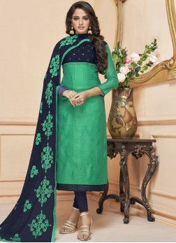 Swanky Sea Green Embroidered Fancy Fabric Churidar Suit
