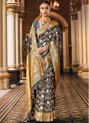 Swanky Weaving Art Silk Blue Classic Saree