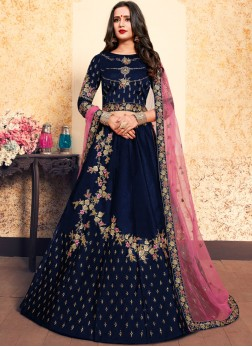 Swarovski Satin Designer Lehenga Choli in Navy Blue