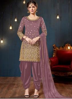 Tafeta Silk Designer Patiala Salwar Kameez in Mauve