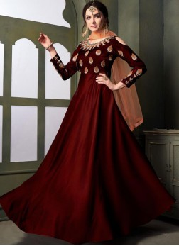 Tafeta Silk Embroidered Maroon Designer Gown