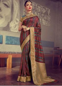 Tamannaah Bhatia Art Silk Multi Colour Woven Traditional Designer Saree