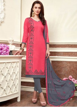 Tantalizing Embroidered Cotton Pink Churidar Salwar Suit
