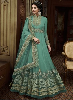 Tantalizing Teal Embroidered Anarkali Salwar Kameez