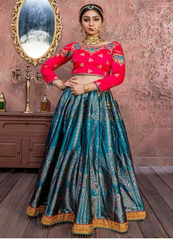 Teal Embroidered Designer LehengaCholi