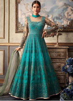 Teal Embroidered Floor Length Anarkali Suit