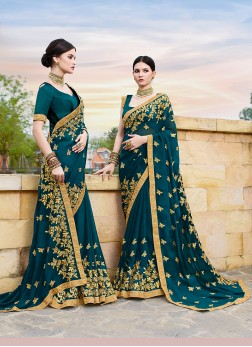 Teal Faux Georgette Embroidered Traditional Designer Saree