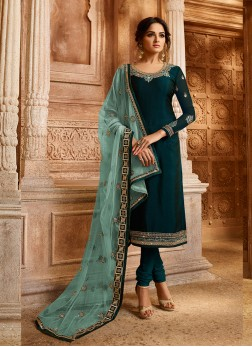 Teal Georgette Satin Embroidered Designer Straight Suit