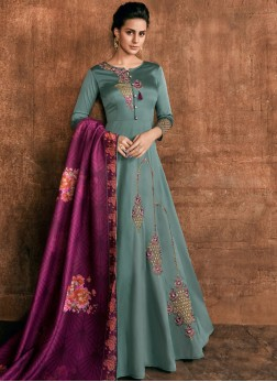 Teal Wedding Rayon Anarkali Salwar Kameez