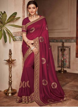 Tempting Embroidered Art Silk Designer Saree