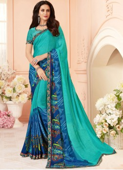 Tempting Faux Georgette Abstract Print Multi Colour Printed Saree