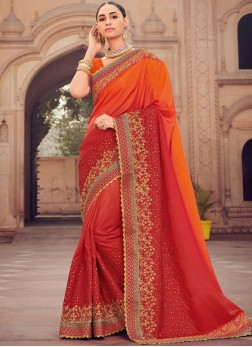 Tempting Orange and Red Shaded Saree