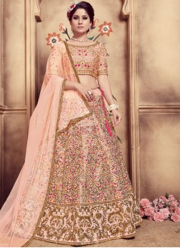 Tempting Peach Embroidered Designer Lehenga Choli