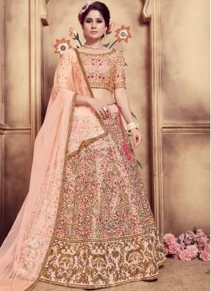 Tempting Peach Embroidered Designer Lehenga Choli