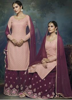 Tempting Pink Faux Georgette Designer Palazzo Suit