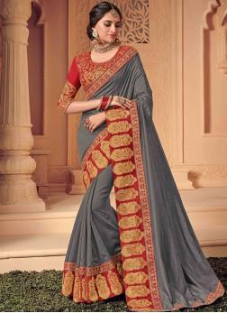 Tempting Stone Silk Grey Designer Saree