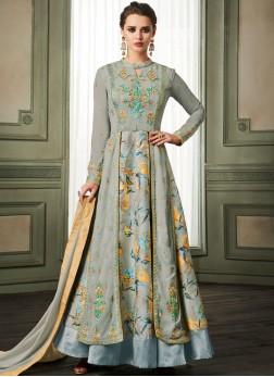 Tiptop Faux Georgette Blue Readymade Anarkali Suit