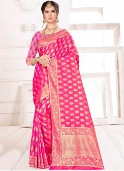 Tiptop Weaving Pink Banarasi Silk Designer Saree