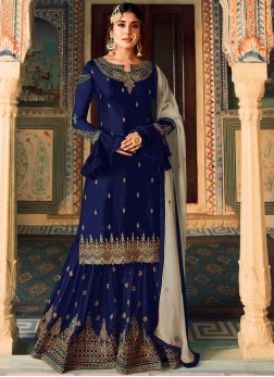 Titillating Embroidered Art Silk Designer Palazzo Salwar Kameez