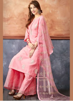 Titillating Embroidered Pink Readymade Suit