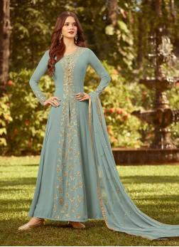 Titillating Georgette Mehndi Designer Salwar Kameez