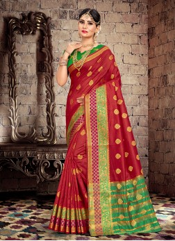 Titillating Maroon Weaving Designer Traditional Saree