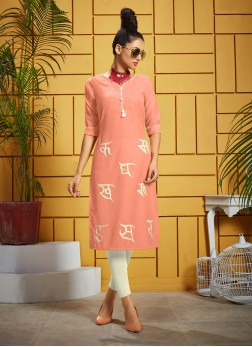 Titillating Rayon Thread Work Designer Kurti