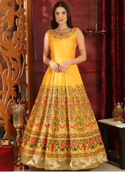 Titillating Yellow Art Silk Designer Anarkali style wedding gown