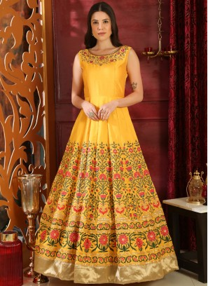 Titillating Yellow Art Silk Designer Gown