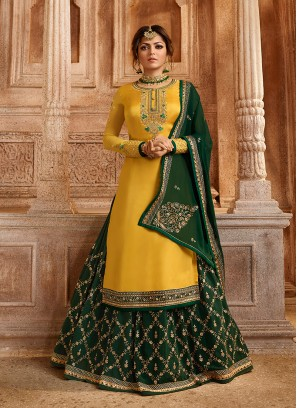 Topnotch Lace Yellow Drashti Dhami Lehenga Choli