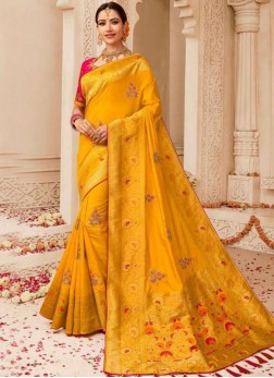 Traditional Designer Saree Weaving Art Silk in Yellow