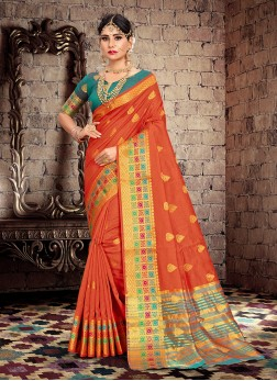 Traditional Designer Saree Weaving Cotton Silk in Orange