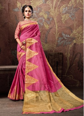 Traditional Designer Saree Woven Cotton Silk in Hot Pink