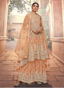 Traditional Wedding Net Anarkali Suit With Palazzo In Peach