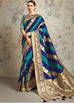 Transcendent Blue and Green Classic Saree