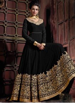 Transcendent Embroidered Georgette Black Anarkali Suit