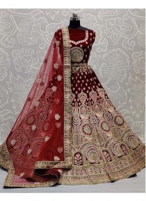 Tread And Mirror Embroidery Bridal Lehenga Choli In Maroon