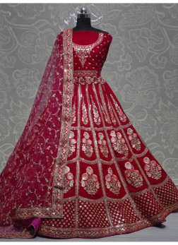 Tremendous Wedding Sequence Work On Velvet Lehenga Choli In Pink