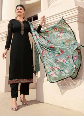 Trendy Embroidered Georgette Pakistani Suit In Black