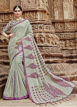 Trendy Khadi Silk Printed Saree