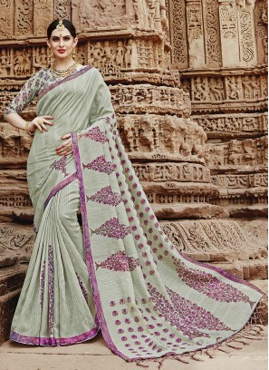 Trendy Khadi Silk Printed Saree