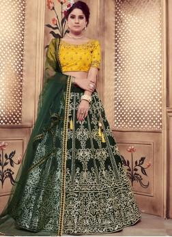 Trendy Lehenga Choli Cutdana Art Silk in Green